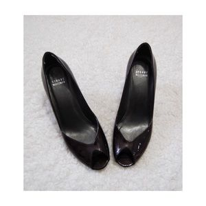 Stuart Weitzman Brown Patent Leather Peep Toe Heel
